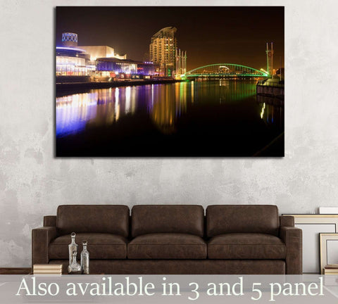 Salford quays and MediaCity at night, millennium lift bridge, Manchester city, United Kingdom №2094 Ready to Hang Canvas Print