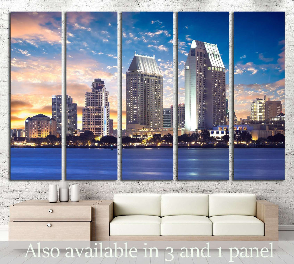 San Diego Cityscape Sunset, California USA №1211 Ready to Hang Canvas Print