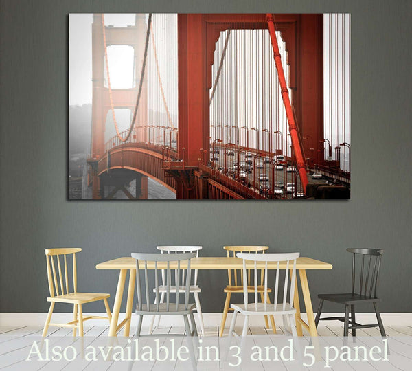 San Francisco, Golden Gate bridge from above, misty weather №1944 Ready to Hang Canvas Print