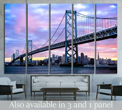 San Francisco-Oakland Bay Bridge and San Francisco Skyline, California, USA №2728 Ready to Hang Canvas Print