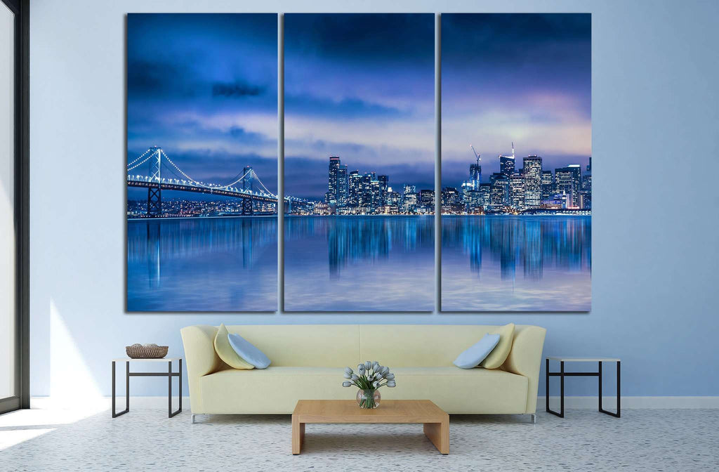 San Francisco skyline and Bay Bridge №1106 Ready to Hang Canvas Print