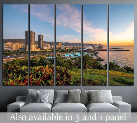 Santa Cruz cityscape view on residential buildings and offices with park and mountains on the sunrise, Canary islands, Spain №2306 Ready to Hang Canvas Print