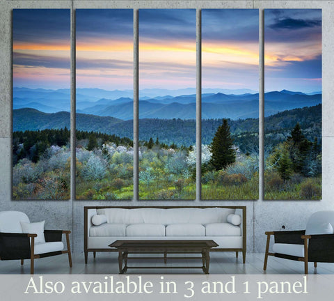 Scenic Blue Ridge Parkway Appalachians Smoky Mountains Spring Landscape with May blossoms №1959 Ready to Hang Canvas Print