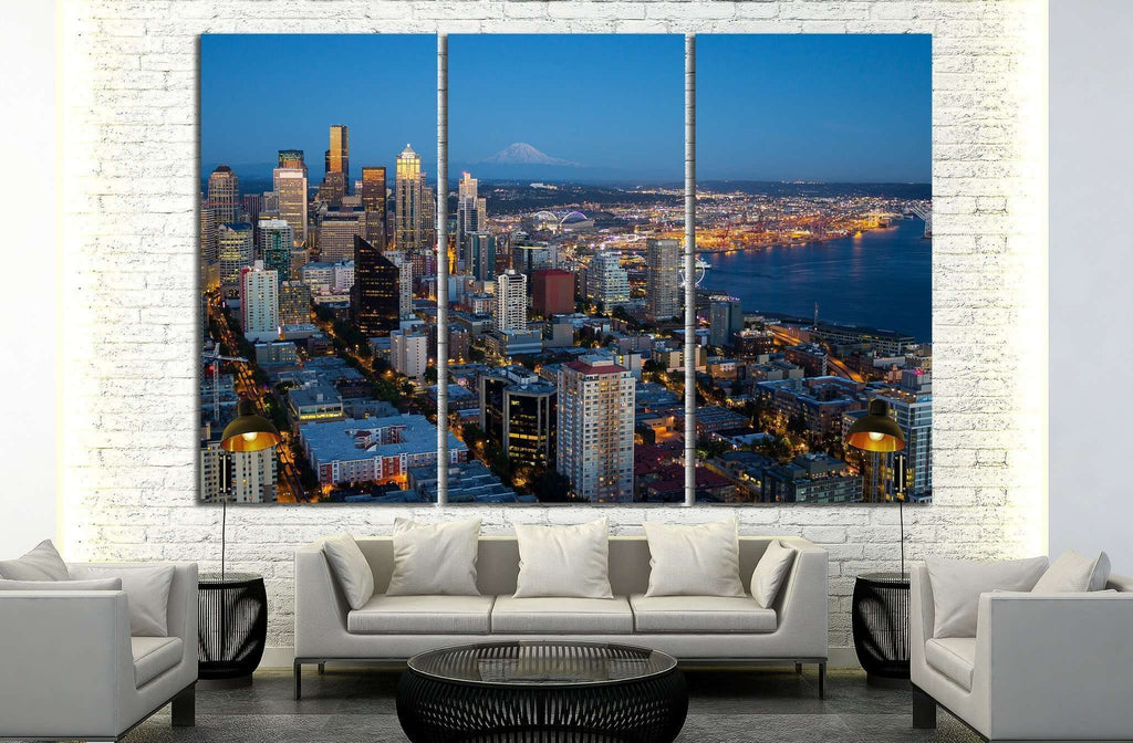 Seattle downtown in night lights №1359 Ready to Hang Canvas Print