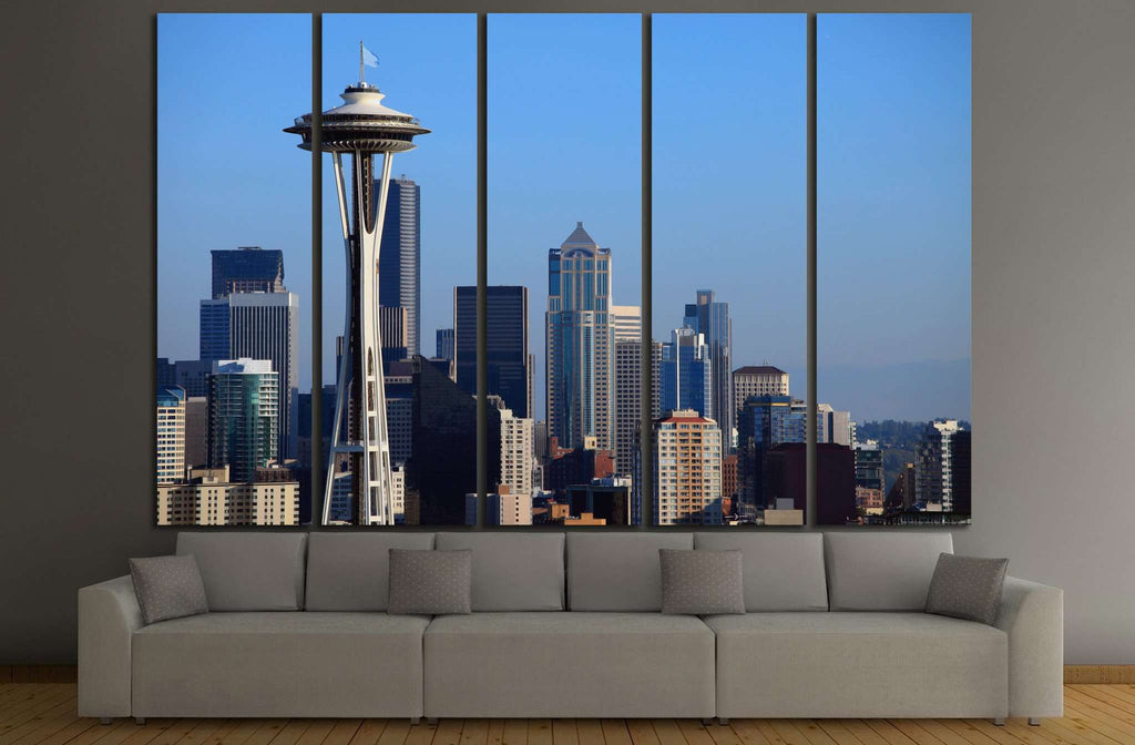 Seattle downtown skyline, WA №1124 Ready to Hang Canvas Print
