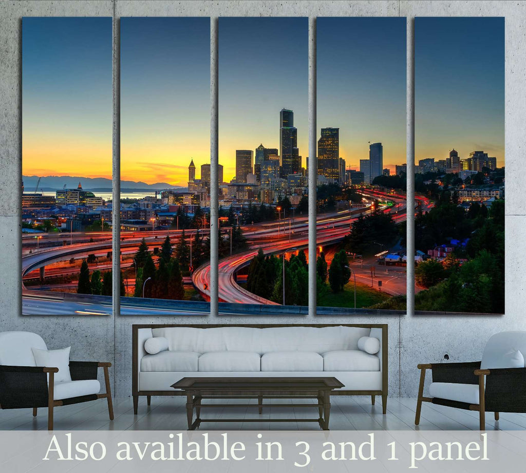 Seattle skylines and highway traffic motion in the sunset. The view from Rizal Park in Seattle, Washington, US №2180 Ready to Hang Canvas Print