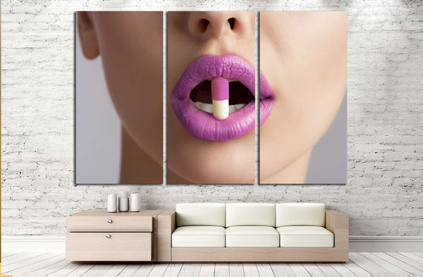 sensual female mouth in close-up portrait with coloured pill between lips №2773 Ready to Hang Canvas Print