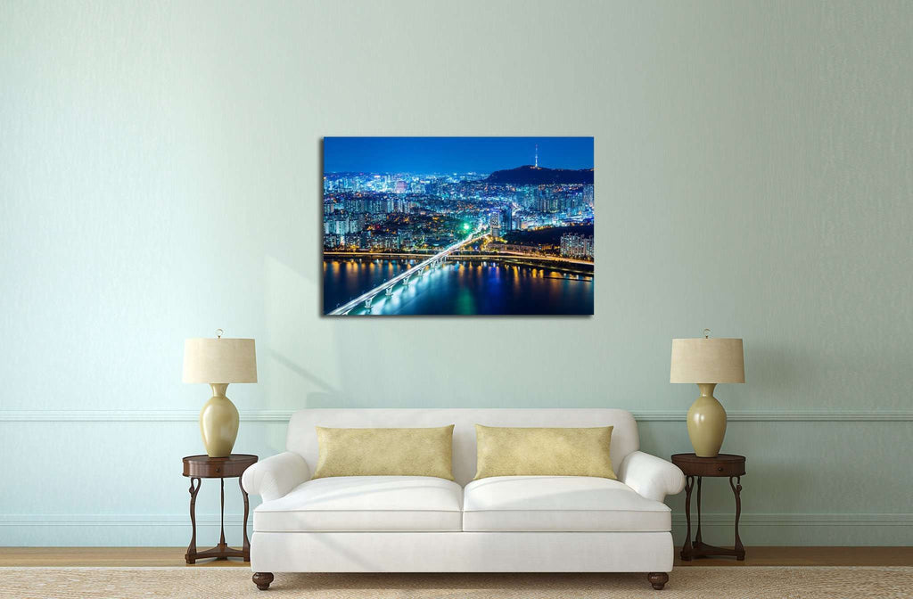 Seoul city at night №579 Ready to Hang Canvas Print