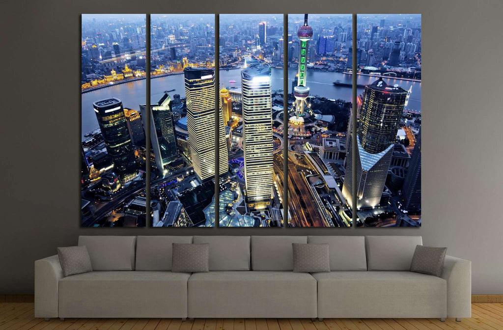 shanghai at night from jinmao building №1170 Ready to Hang Canvas Print
