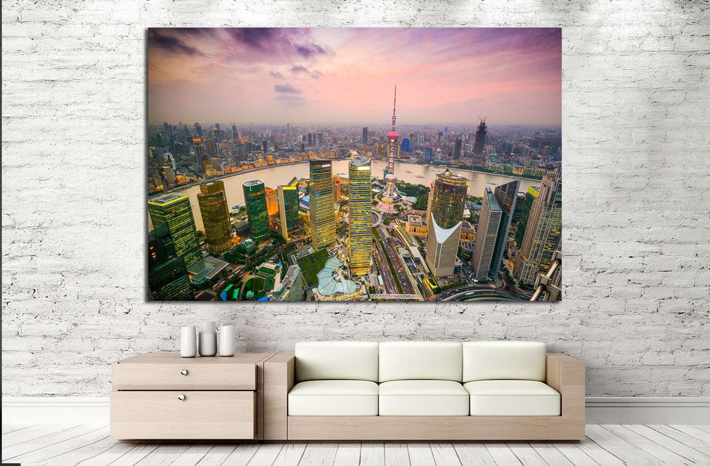 Shanghai, China, Financial District and Huangpu River №1524 Ready to Hang Canvas Print