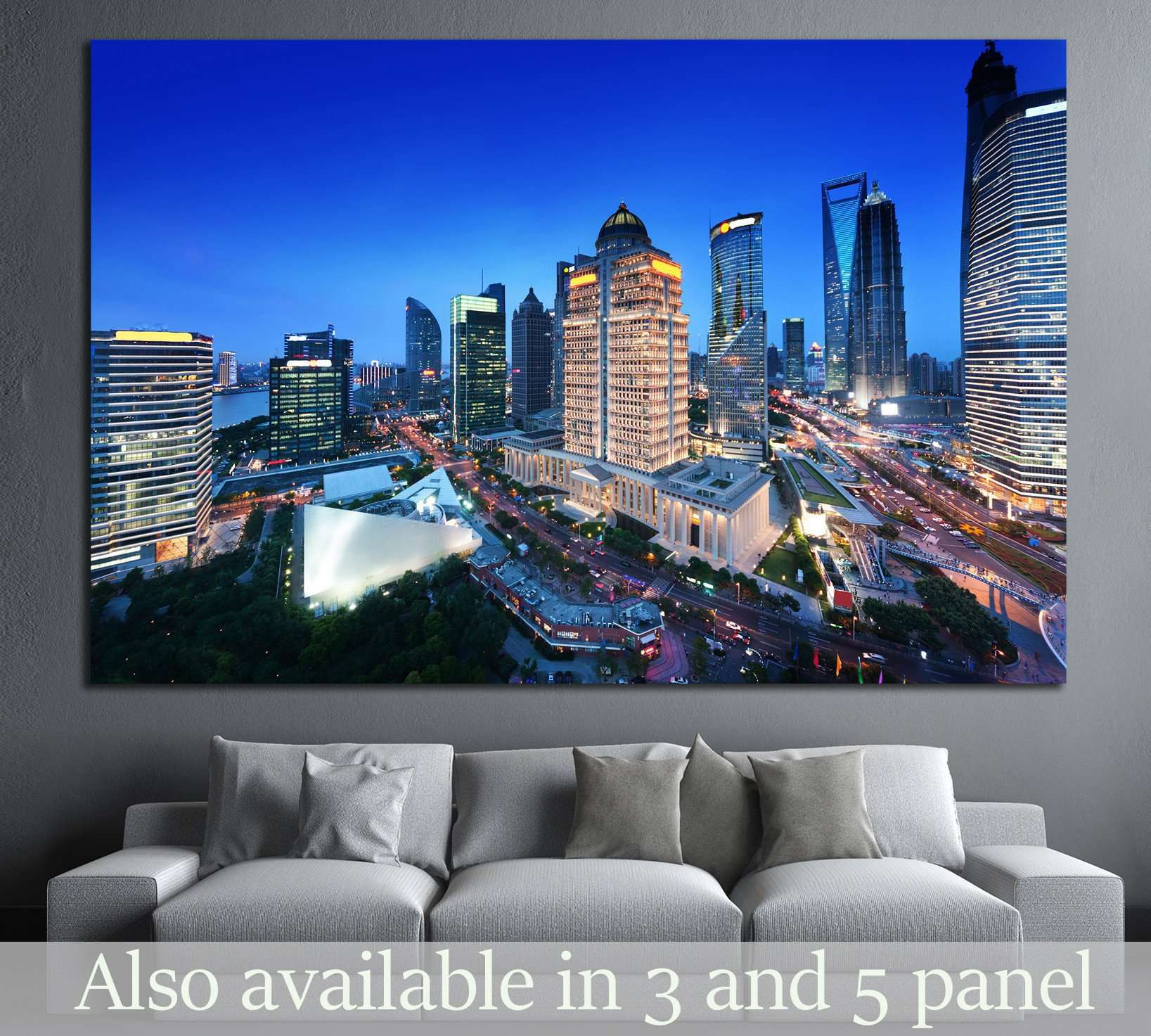 shanghai night view from the oriental pearl tower №1520 Ready to Hang Canvas Print