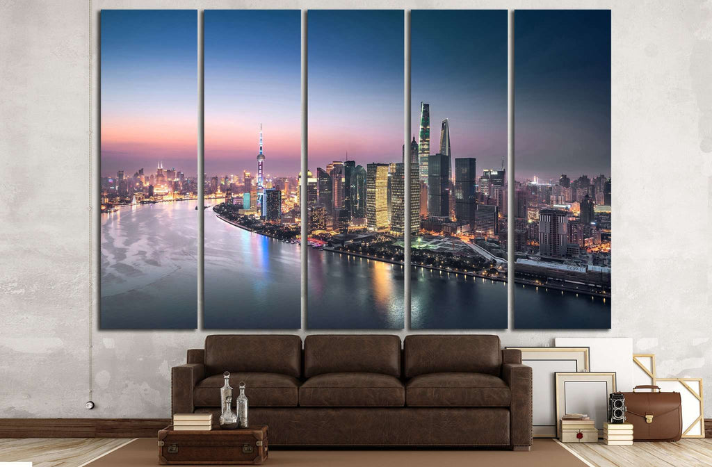 Shanghai skyline and cityscape at night №1251 Ready to Hang Canvas Print