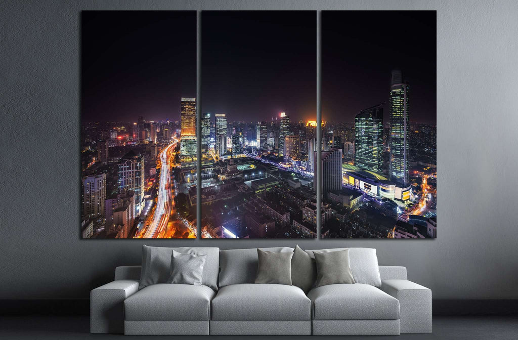 Shanghai skyline and cityscape at night №1278 Ready to Hang Canvas Print