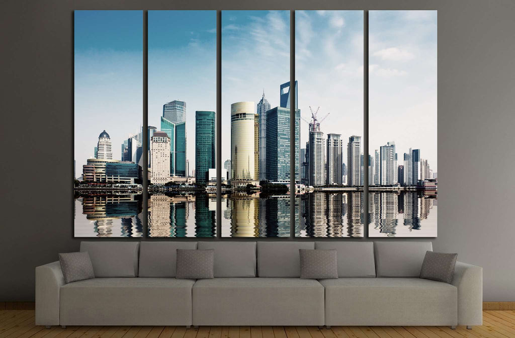 shanghai skyline in daytime №1155 Ready to Hang Canvas Print