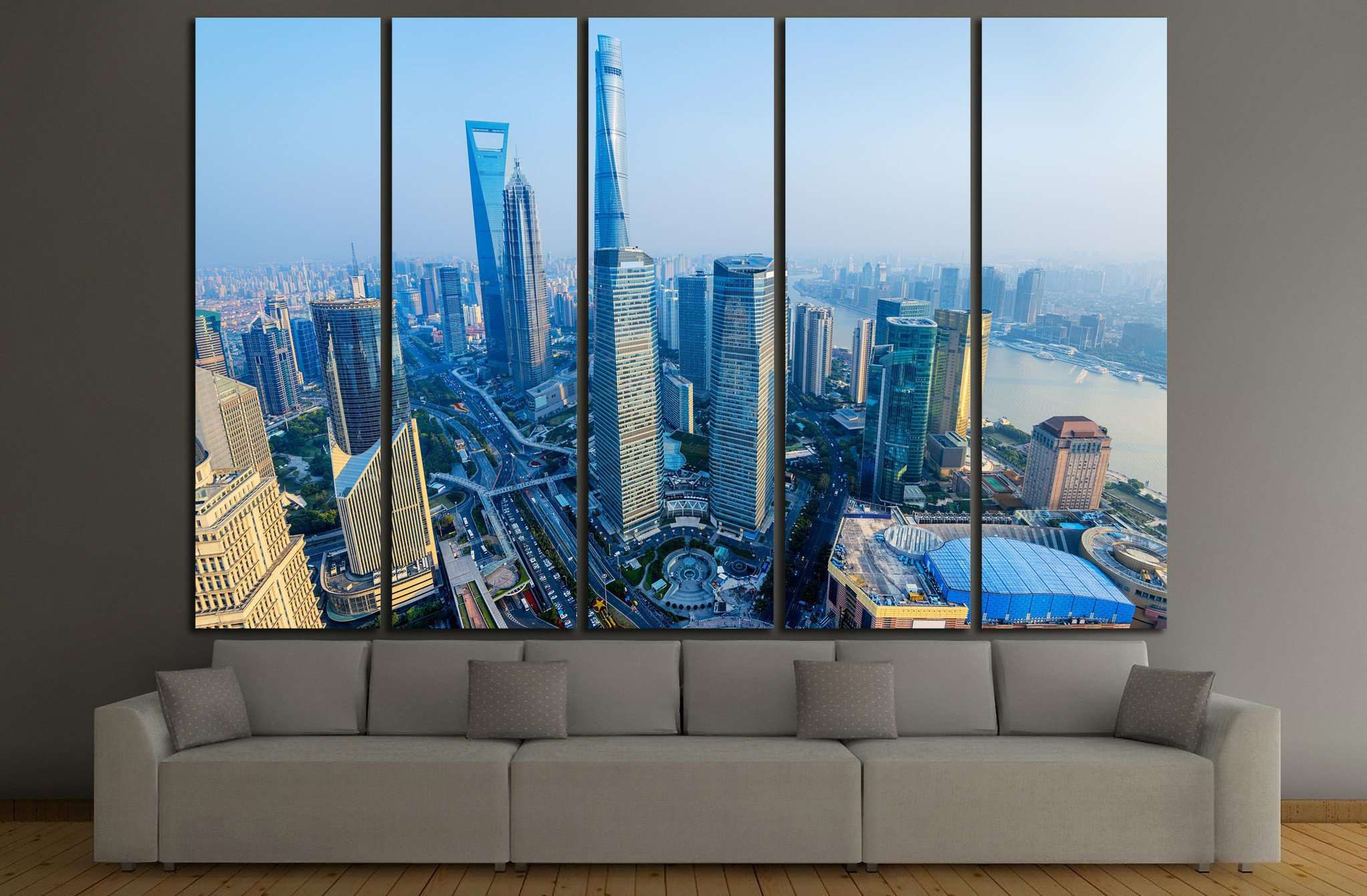 Shanghai Skyline with its newly built iconic skyscrapers №1196 Ready to Hang Canvas Print