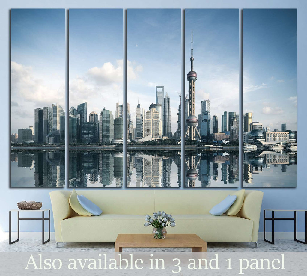 shanghai skyline with reflection, China №1428 Ready to Hang Canvas Print