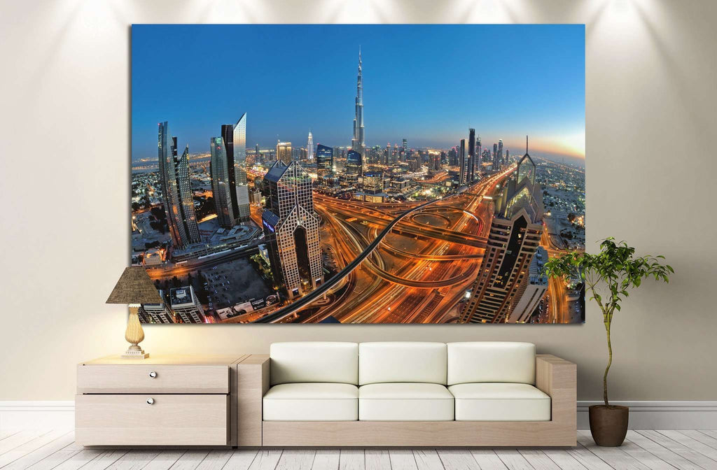 Sheikh Zayed Road, Dubai, UAE №1134 Ready to Hang Canvas Print