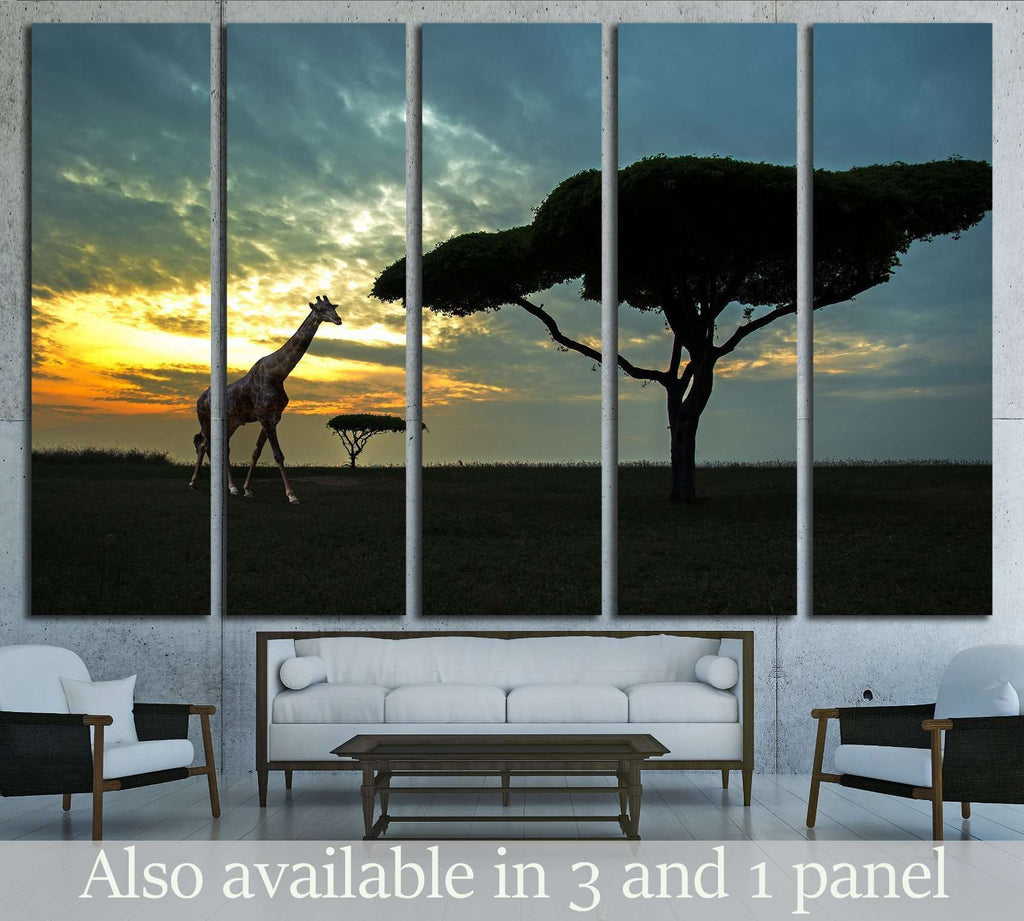 Silhouette of African safari scene with animals №1827 Ready to Hang Canvas Print