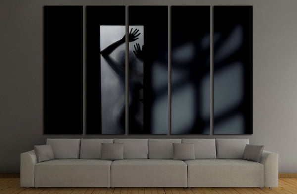 Silhouette of the sexy woman behind the glass door. Interior with deep shadows №2771 Ready to Hang Canvas Print