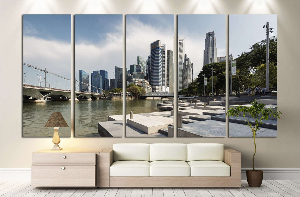Singapore Central Business District and Singapore Rive №1232 Ready to Hang Canvas Print