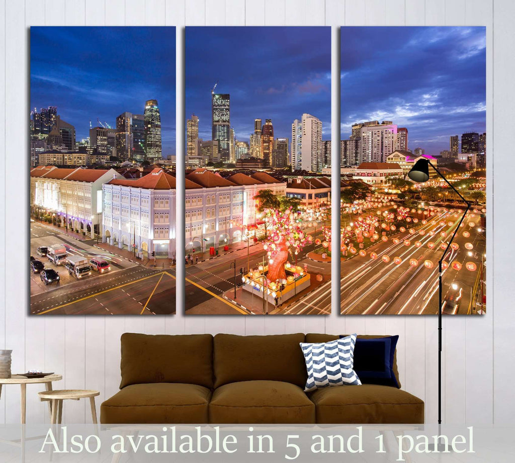 Singapore, Chinatown with Chinese New Year decoration №1646 Ready to Hang Canvas Print