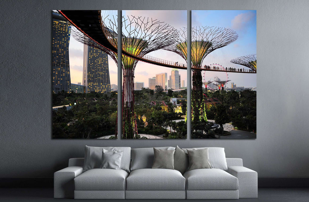 SINGAPORE, Gardens by the Bay at dusk №2251 Ready to Hang Canvas Print