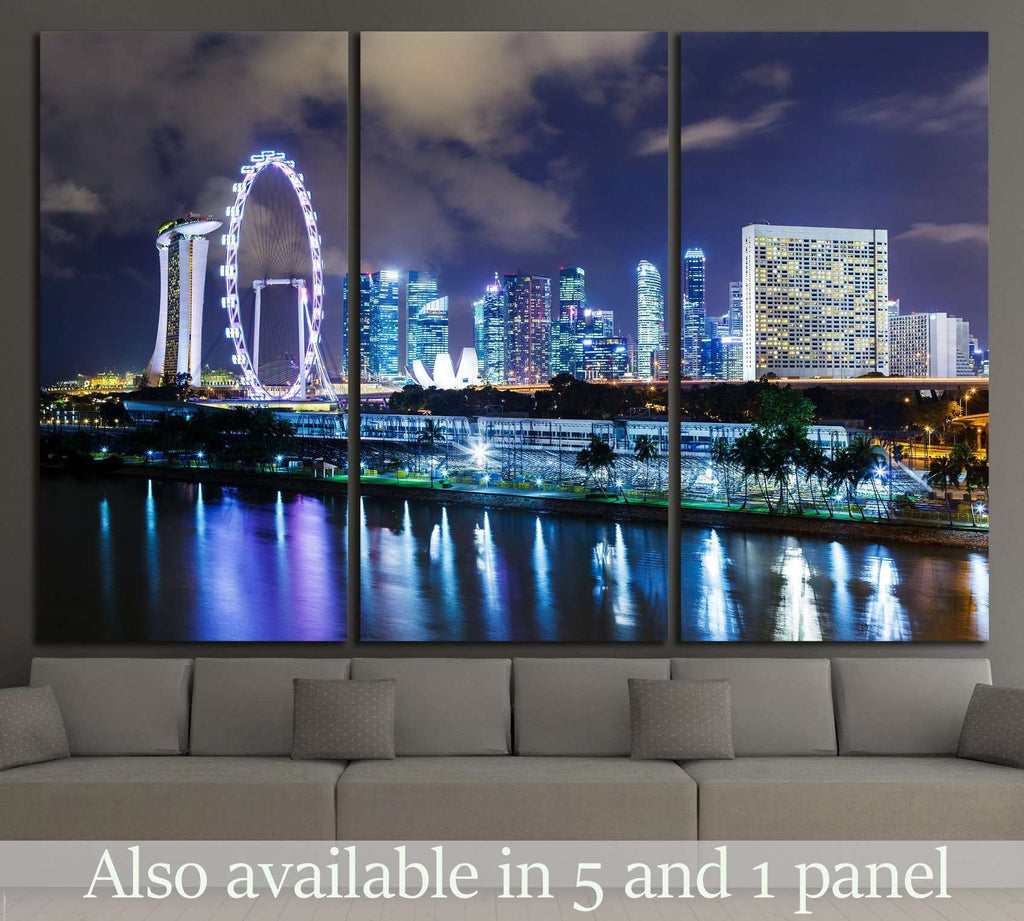 Singapore night №1515 Ready to Hang Canvas Print