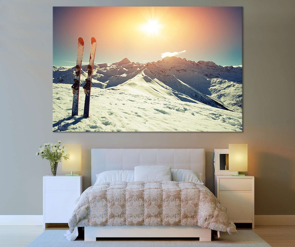 Ski and Mountain №666 Ready to Hang Canvas Print