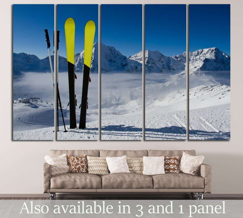 Ski in Snow №182 Ready to Hang Canvas Print