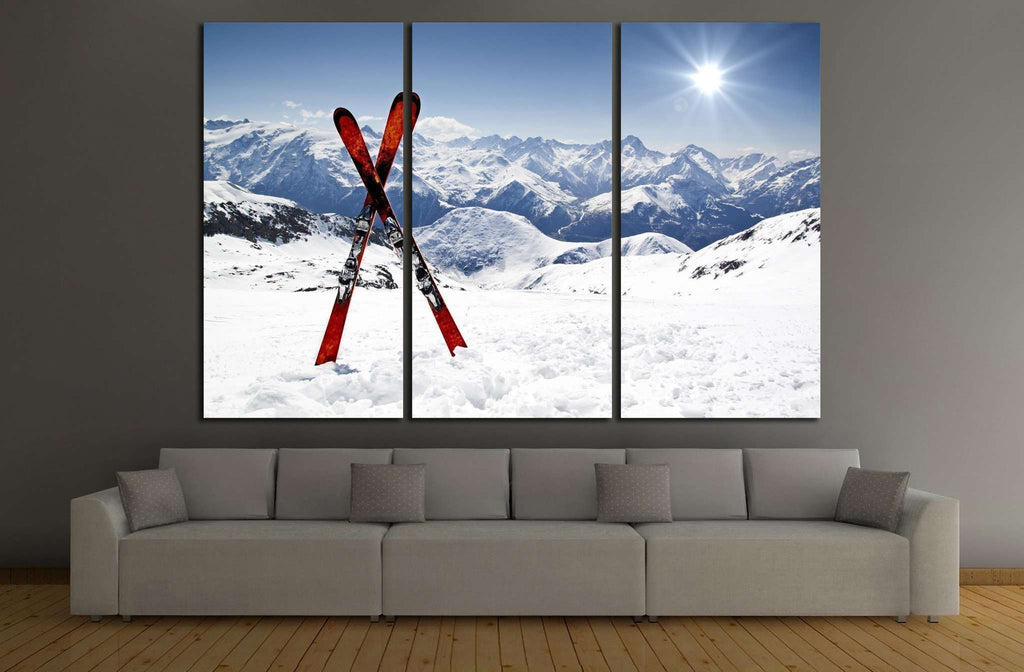 Skis in Snow №183 Ready to Hang Canvas Print