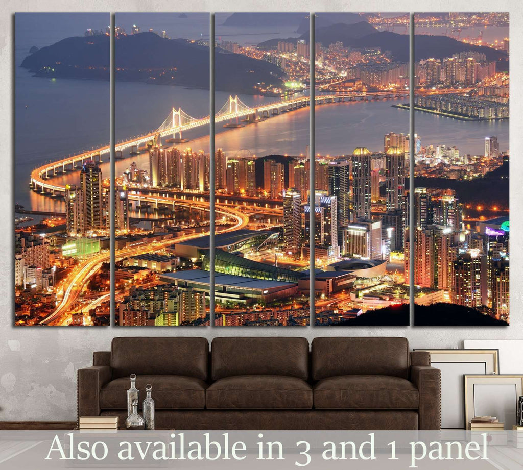 Skyline of Busan №584 Ready to Hang Canvas Print