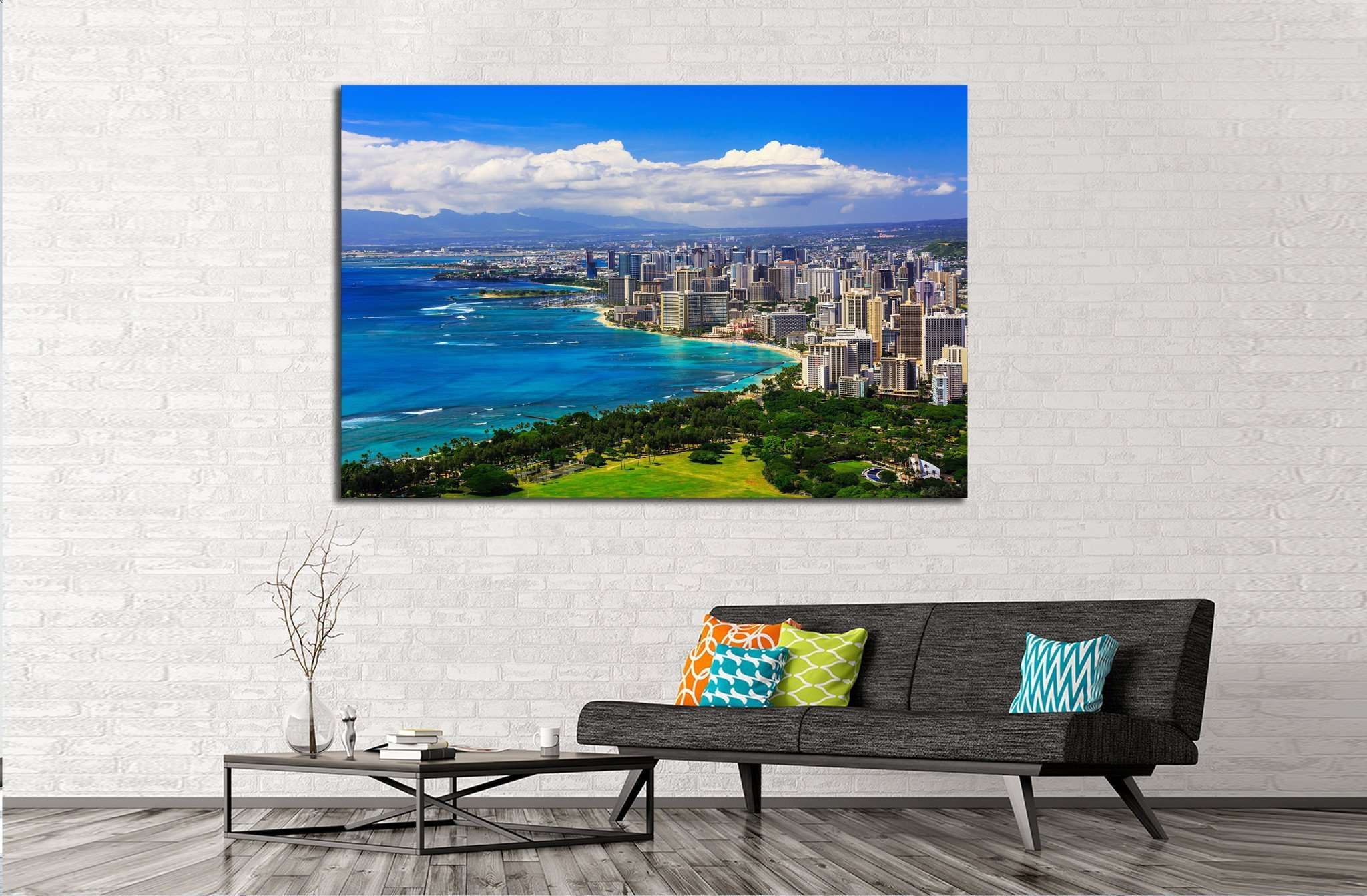 Skyline of Honolulu, Hawaii and buildings on Waikiki Beach №1716 Ready to Hang Canvas Print