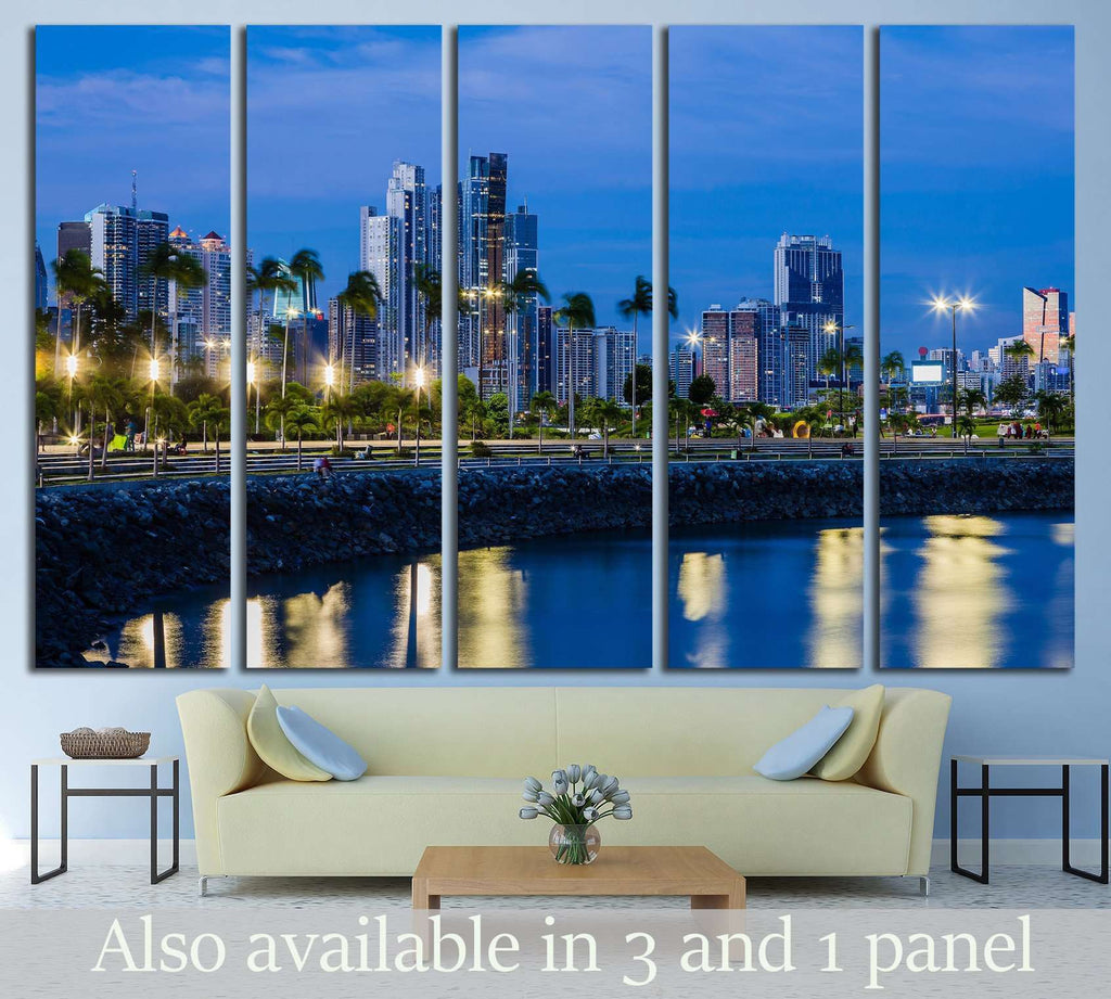 Skyline of Panama City at blue hour №1559 Ready to Hang Canvas Print
