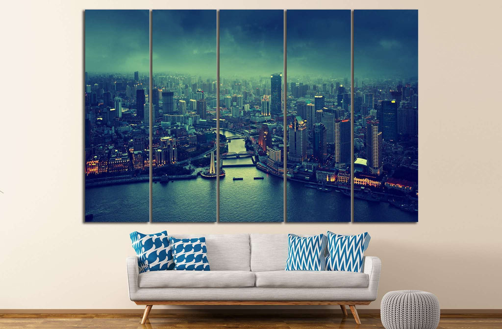skyline of Shanghai №586 Ready to Hang Canvas Print