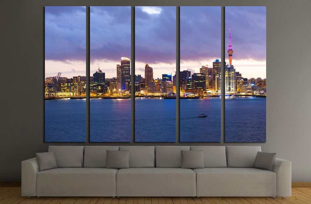 Skyline photo of the biggest city in the New Zealand, Auckland. The photo was taken after sunset across the bay №2278 Ready to Hang Canvas Print