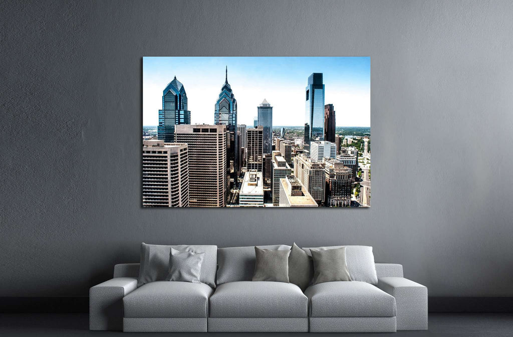 Skyline view of Philadelphia, PA Aerial Photograph №2032 Ready to Hang Canvas Print
