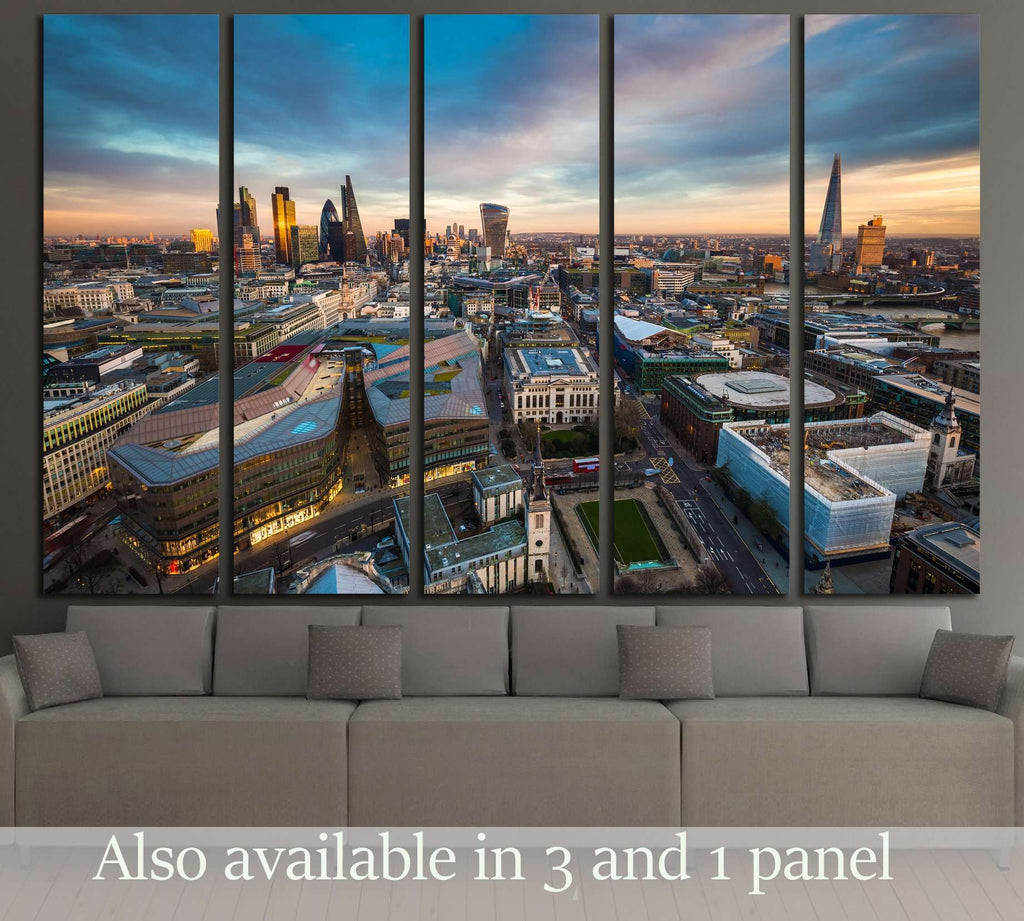 Skyline view of the famous financial bank district of London at magic hour №2998 Ready to Hang Canvas Print