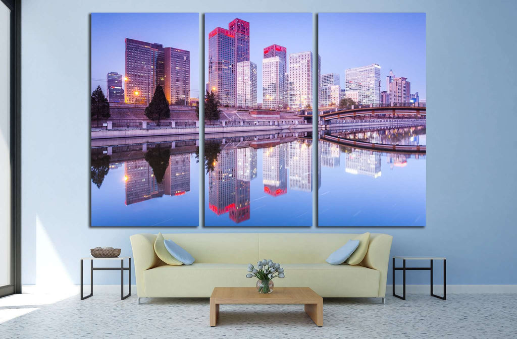 Skyscrapers, downtown Beijing at sunset №1516 Ready to Hang Canvas Print
