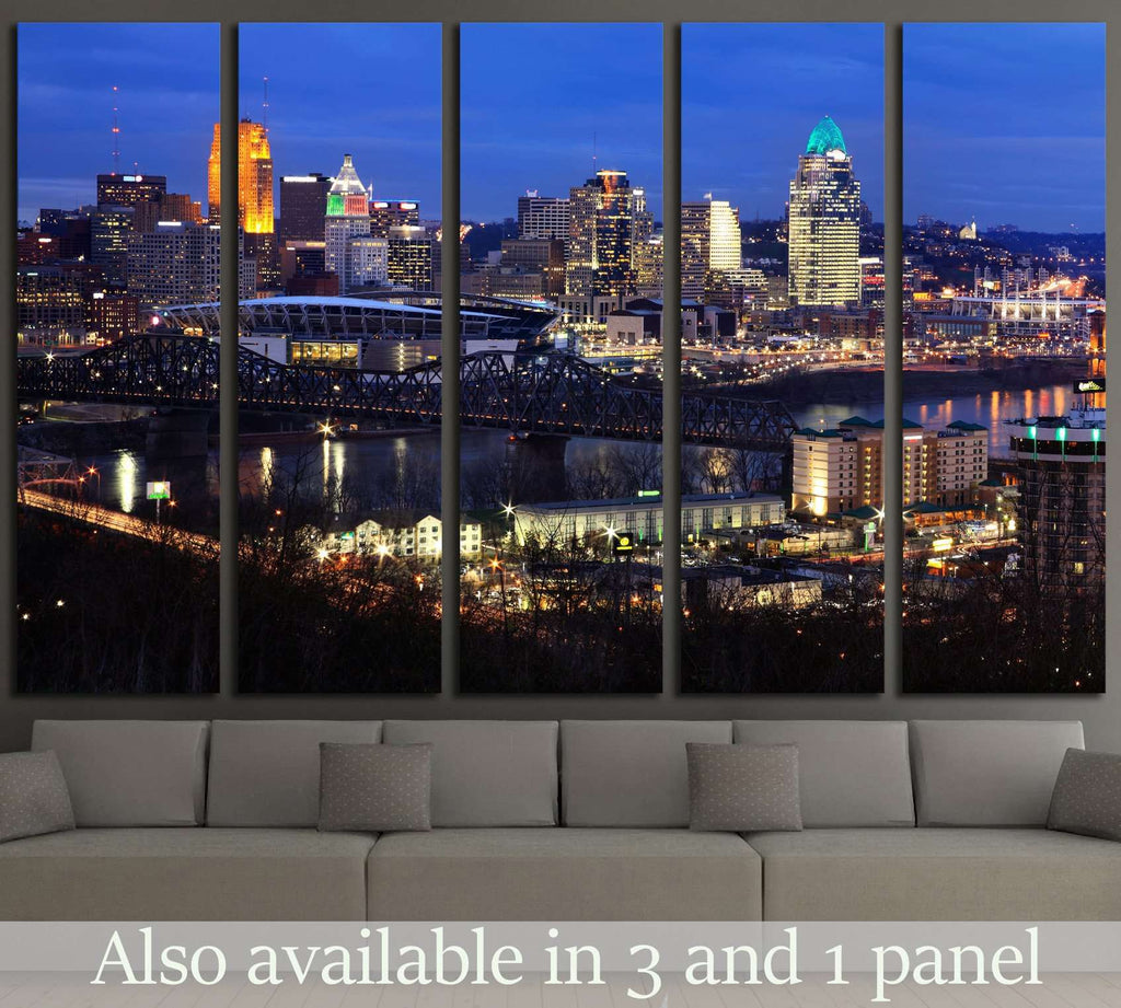 Skyscrapers On A Winter's Eve In Cincinnati Ohio, USA №1676 Ready to Hang Canvas Print