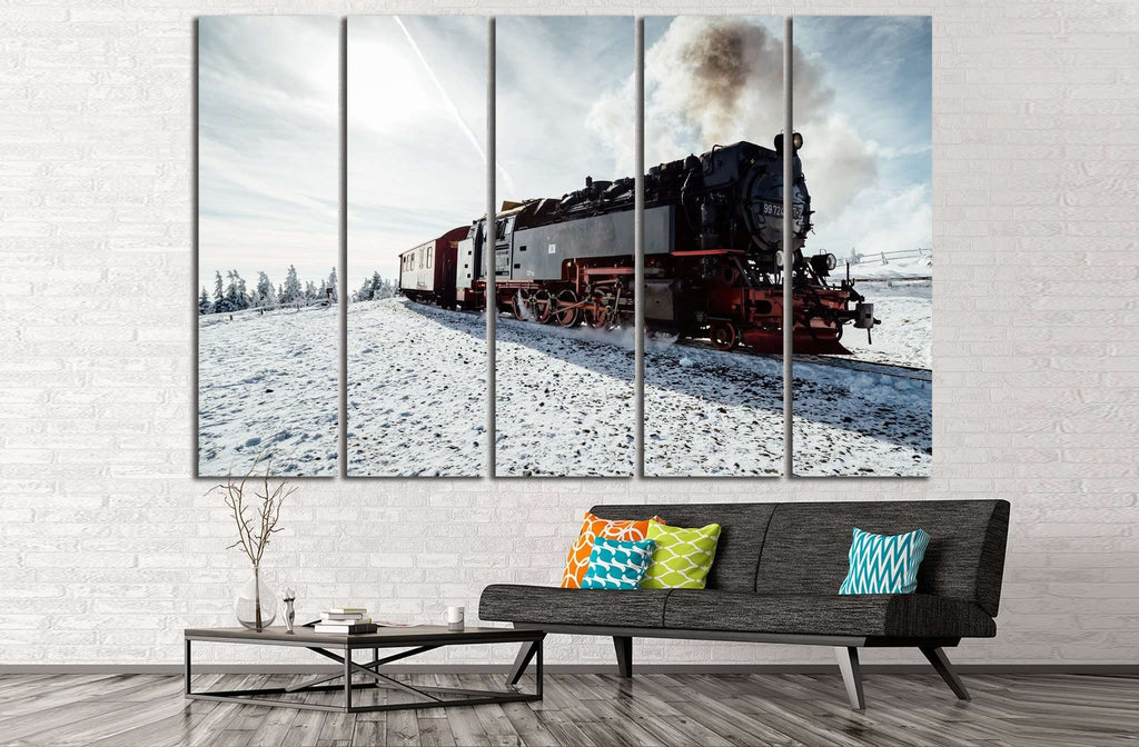 Snow and Locomotive №238 Ready to Hang Canvas Print