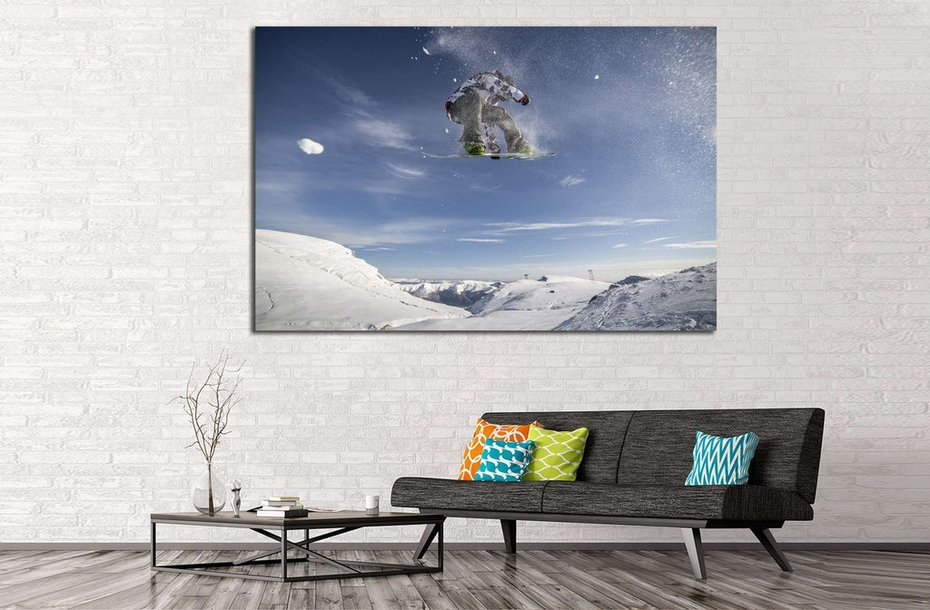Snowboarder Fly №179 Ready to Hang Canvas Print