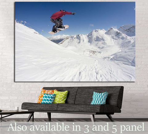 Snowboarder Fly №180 Ready to Hang Canvas Print