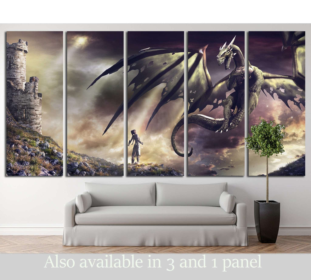 sorceress and green dragon №711 Ready to Hang Canvas Print