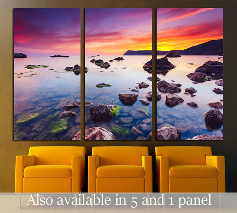 Spectacular Black Sea in the evening light. Picturesque and gorgeous scene №2917 Ready to Hang Canvas Print