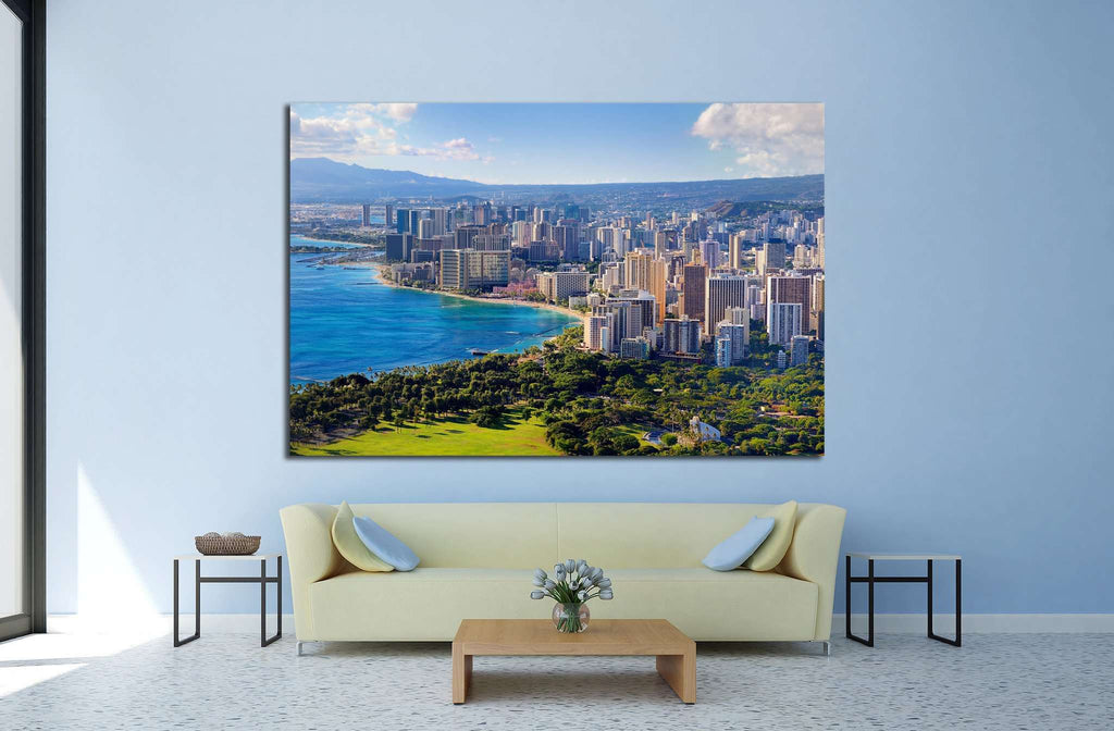 Spectacular view of Honolulu city, Oahu, Hawaii №1702 Ready to Hang Canvas Print
