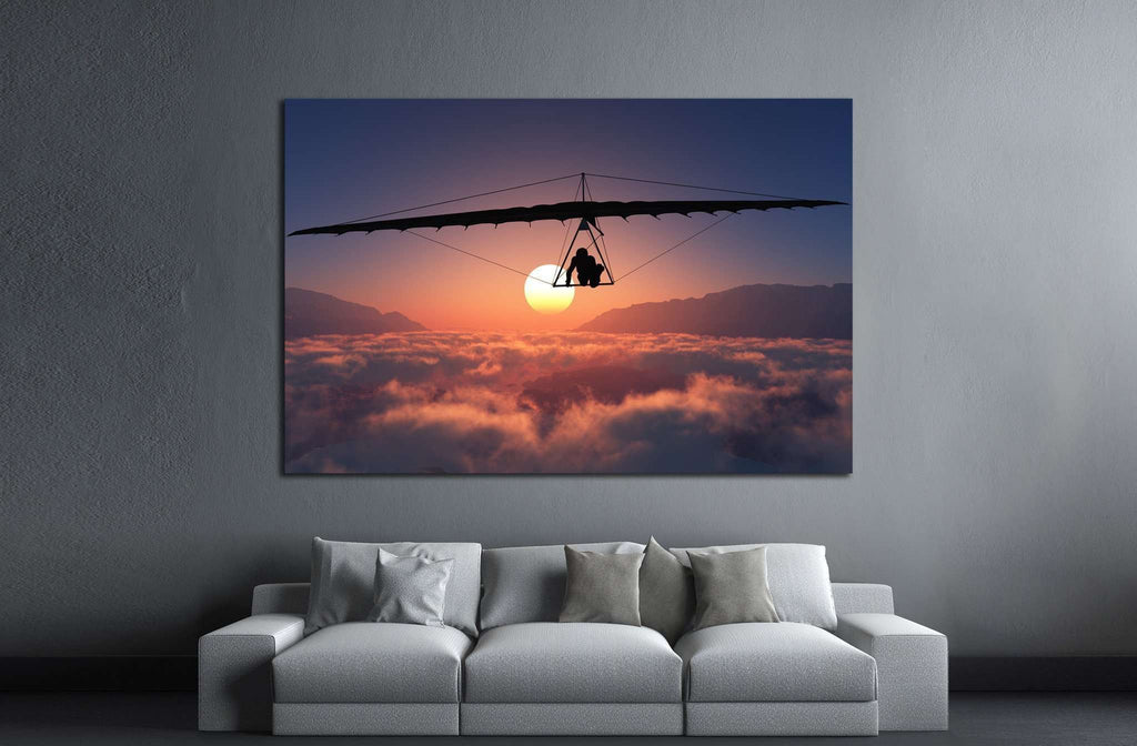 Sports radical against on sunset background №1377 Ready to Hang Canvas Print