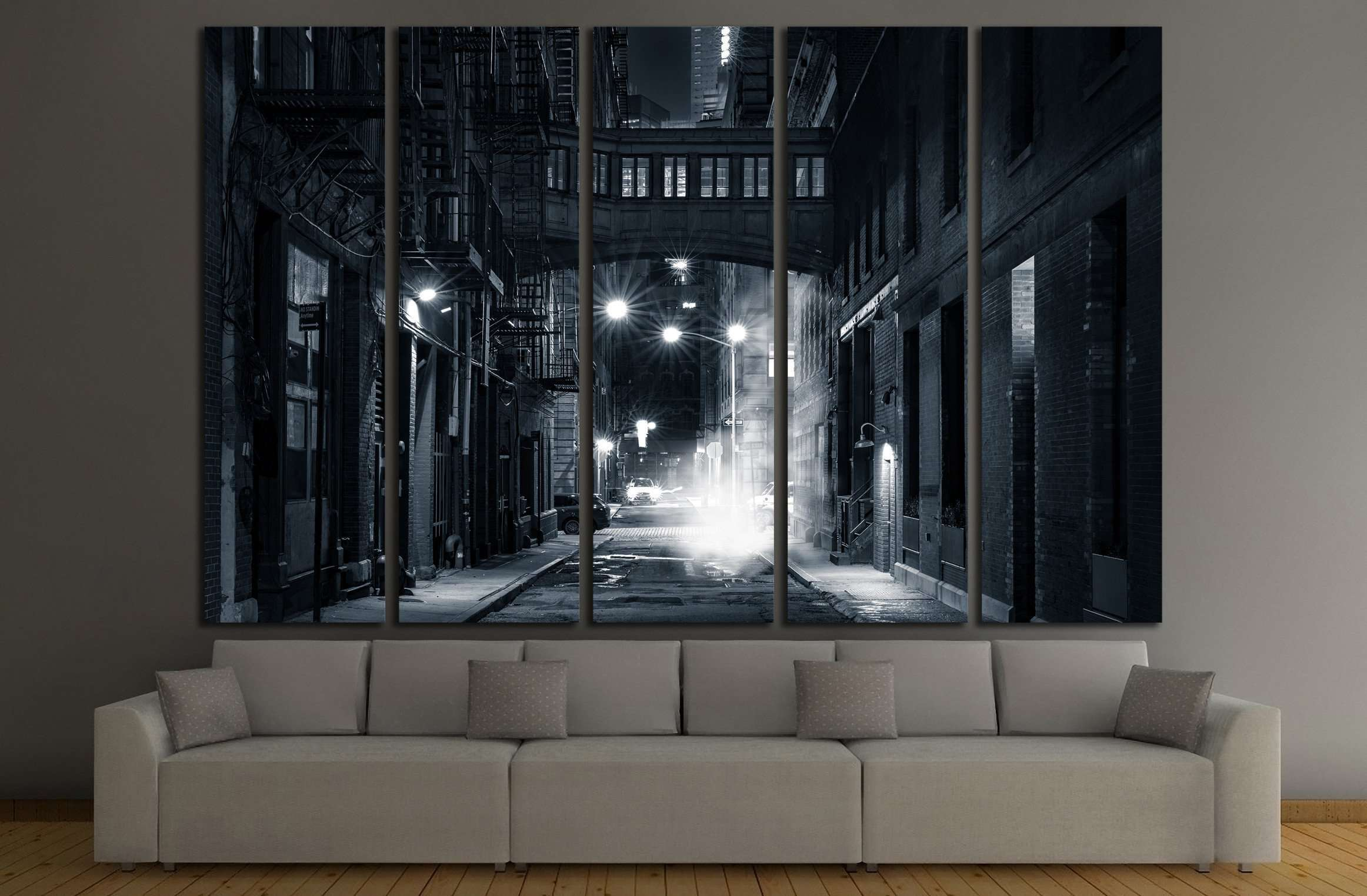 Staple street skybridge by night, in Tribeca, New York City №2197 Ready to Hang Canvas Print