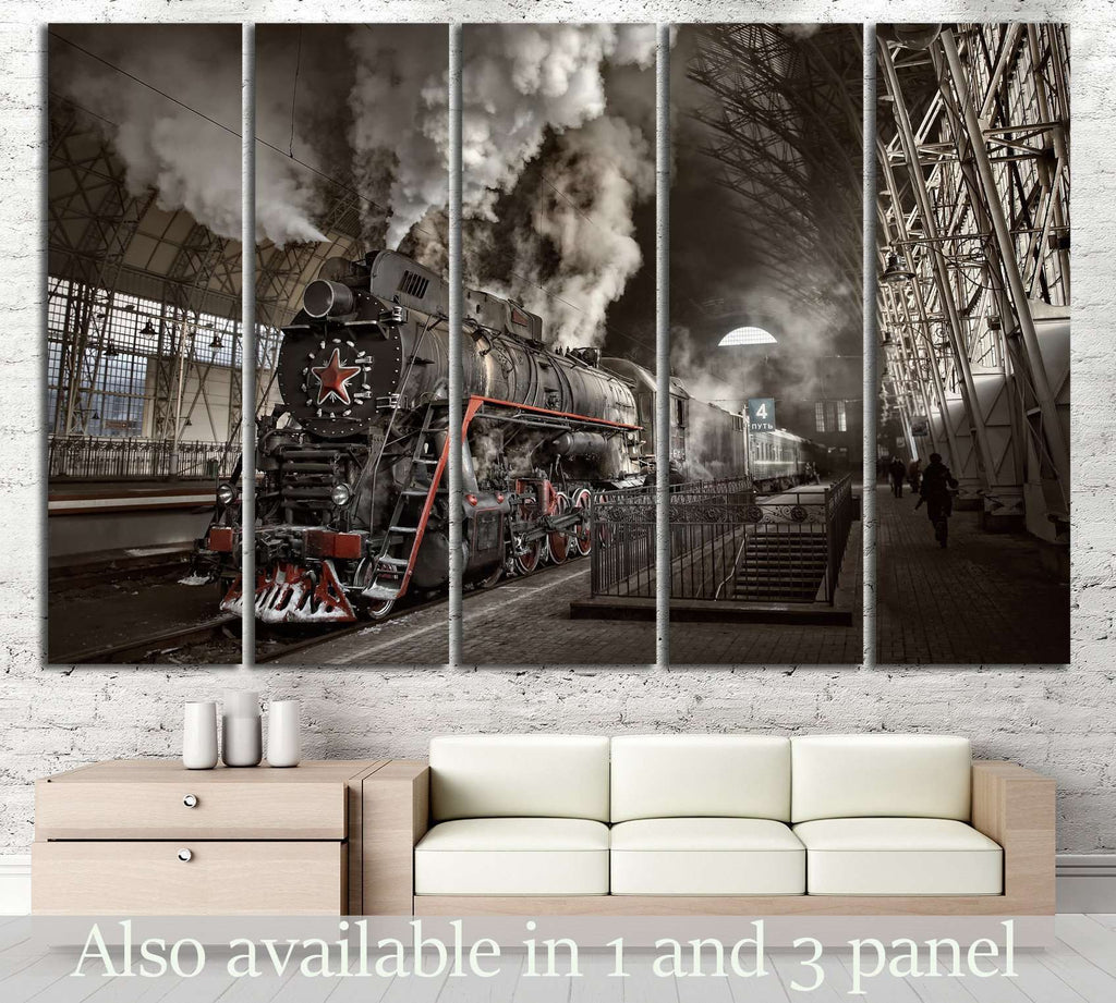 Steam Train at the Station №239 Ready to Hang Canvas Print