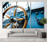 Steering wheel on a luxury yacht №1410 Ready to Hang Canvas Print