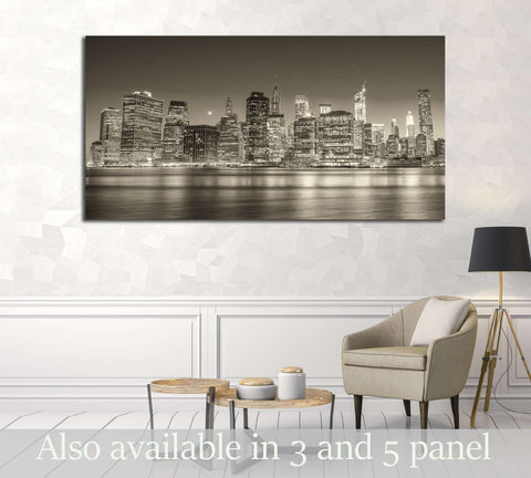 Stunning Manhattan lights at dusk. Reflections on East River - New York №2952 Ready to Hang Canvas Print
